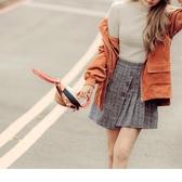 《CA1810》毛呢直條裝飾排釦下襬打褶褲裙 OrangeBear