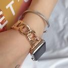 適用於 蘋果手錶帶 Apple Watch 3 4 5 6 SE 單排鏈式不鏽鋼錶帶 金屬錶帶38/42/40/44mm