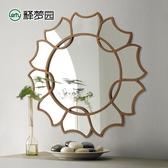 智慧浴室鏡-歐式壁掛裝飾鏡餐廳背景牆美式玄關鏡子衛生間浴室化妝鏡圓形2067 完美情人館YXS