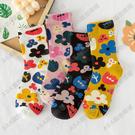韓國ins潮泫雅風小花朵女士中筒襪子日系原宿可愛甜美堆堆版襪子