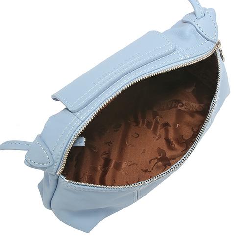 LONGCHAMP Le Pliage Cuir賽馬logo烙印軟皮革斜肩包(淡藍紫色-含帕巾)480700-B40