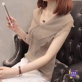 雪紡上衣 女夏季洋氣短袖蕾絲雪紡娃娃衫很仙的氣質上衣韓版超仙百搭打底衫