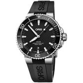 Oris豪利時 Aquis 時間之海潛水300米日期機械錶-黑/43.5mm 0173377304154-0742464EB