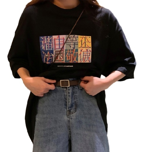 EASON SHOP(GW6559)實拍撞色中文字印花薄款長版OVERSIZE短袖T恤裙女上衣服落肩寬鬆內搭衫素色棉T