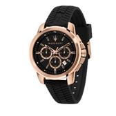MASERATI 瑪莎拉蒂 經典三眼計時矽膠錶帶腕錶44mm(R8871621012)