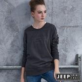 【JEEP】女裝 美式時尚徽章造型長袖TEE  (灰色)