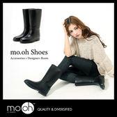 中筒雨鞋 防水靴 大尺碼 英國時尚皮革感兩用雨靴 mo.oh (歐美鞋款)
