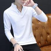秋季新款男士長袖T恤韓版潮流衛衣V領百搭男裝衣服POLO衫體恤
