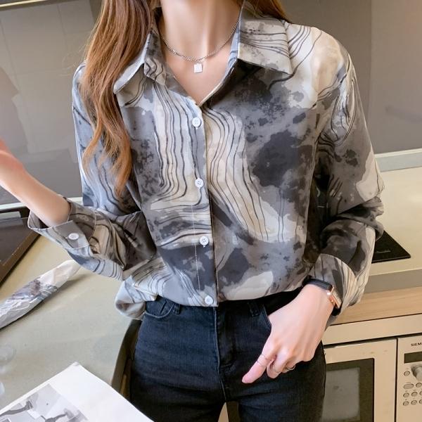 韓版寬松複古潑墨印花襯衫 S-XL暈染大碼胖MM長袖襯衣女5015 GDB503 依品國際