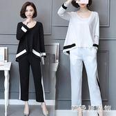 大尺碼春裝新款媽媽加肥加大碼時髦套裝休閒運動肥婆胖人蕾絲兩件套 QQ17617『樂愛居家館』