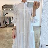 立領洋裝 韓國法式氣質立領單排扣寬鬆皺褶感泡泡袖襯衫式洋裝長裙女-Milano米蘭