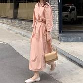 綁帶洋裝 韓國炒雞溫柔蜜桃粉圓領寬鬆綁帶收腰長款開叉襯衫式洋裝女-Milano米蘭
