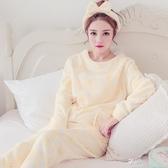 秋冬款加厚珊瑚絨睡衣少女韓版小清晰可愛長袖保暖加絨法蘭絨套裝 享購