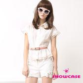 【SHOWCASE】微透拼接珍珠領荷葉紗襯衫(白/黃)