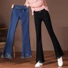牛仔褲女新高腰韓版修身顯瘦保暖彈力純色大碼胖MM喇叭褲 伊蘿