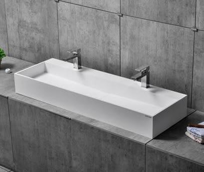 【麗室衛浴】精緻人造石一體成型檯面盆  檯上盆 雙盆 10156 尺寸1200x400x150mm