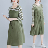 顯瘦配條假兩件洋裝-多尺碼 獨具衣格 J2462