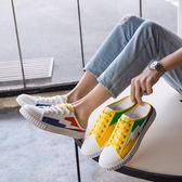 夏季帆布半拖鞋男韓版潮流男鞋子英倫百搭個性新款包頭懶人鞋