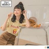 《KG0692-》食物系列~純色圓領俏可愛美式薯條印花五分袖上衣 OB嚴選