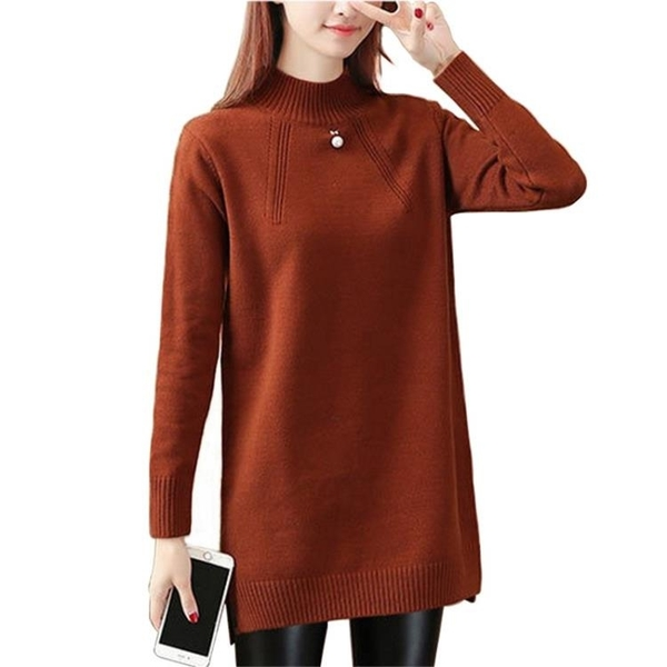 新品上市# 秋冬新款純色半高領套頭針織衫韓版寬松中長款毛衣女長袖打底衫潮