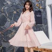 美之札[98753-QF]V領氣質高雅燈籠袖連身裙洋裝 (附腰帶)~