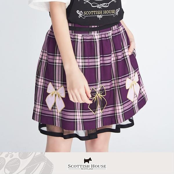 蝴蝶結貼布繡雙層正格短裙 Scottish House 【AM2127】