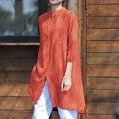 棉麻襯衫中長款上衣七分袖民族風女裝亞麻寬鬆外套印花復古中國風 格蘭小鋪