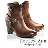 ★2016秋冬★Keeley Ann魅力T字雙繫帶粗跟真皮短靴(棕色) -Ann系列