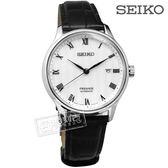 SEIKO 精工 / 4R35-02S0P.SRPC83J1 / Presage 藍寶石水晶 自動上鍊 機械錶 牛皮手錶 白x黑  41mm