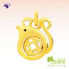 【幸運草金飾-鼠來運轉】『有錢鼠 黃金墜』純金9999 元大鑽石銀樓