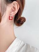 新年耳飾 過年紅色耳環氣質高級感鉆石耳新娘圣誕耳飾幾何方形新款耳墜【快速出貨八折下殺】