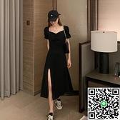 連身裙開叉黑色連衣裙小黑裙海邊度假沙灘裙長裙【海闊天空】