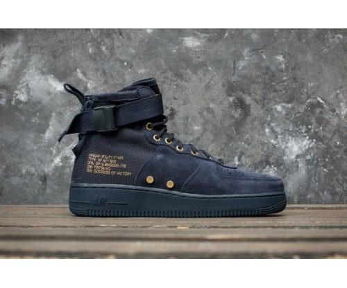 *Nike SF AF1 Mid 藍 深藍 金 靴子 休閒鞋 拉鍊 Air Force 1 運動鞋 男鞋 917753-400