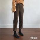 復古高腰顯瘦直筒牛仔褲女 加厚水洗咖啡色休閒褲 FX2911 【東京潮流】