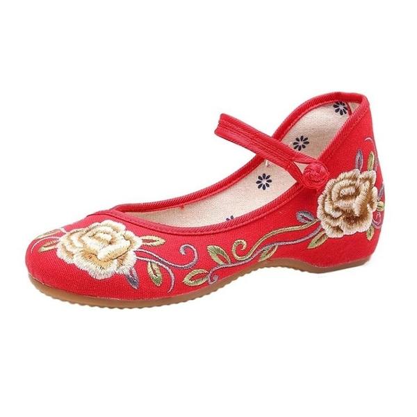 舞蹈鞋廣場舞鞋女新款繡花老北京布鞋軟底舞蹈鞋古民族風跳秧歌紅色舞鞋 雲朵走走