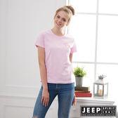 【JEEP】女裝 簡約素面短袖TEE-粉
