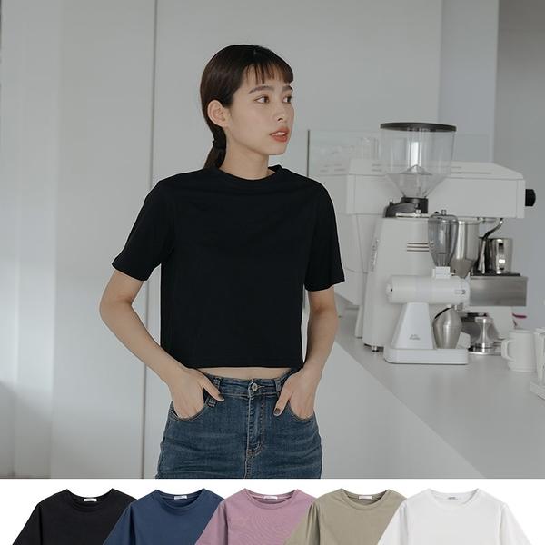 Queen Shop【01038781】MIT圓領短版多色純棉上衣 五色售*現+預*