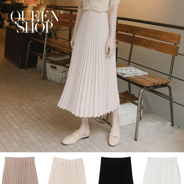 Queen Shop【03020684】質感素面百摺雪紡長裙 四色售*現+預*