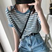 冰絲針織衫女短袖套頭夏季薄款露肩條紋T恤寬鬆韓版百搭顯瘦上衣