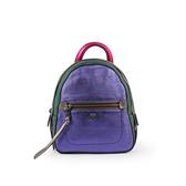 【COACH】拚色珠光皮革口袋後背包(小)(紫/綠色) F49122 QBL38