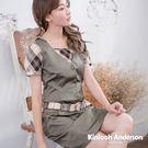 【Kinloch Anderson金安德森女裝】剪接配格布腰帶連帽洋裝 洋裝 修身 學院風