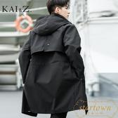 風衣外套男裝中長版秋季新款寬鬆薄款大衣外套【繁星小鎮】