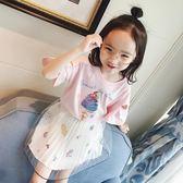 女童2018夏季新款冰淇淋短袖棉t恤卡通圓領 休閒T恤衫親子禮物限時八九折
