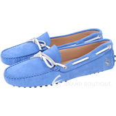 TOD'S For Ferrari 麂皮撞色綁帶豆豆休閒鞋(女鞋/藍色) 1730205-23