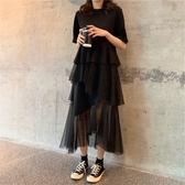【免運】夏2019新款潮大胸連衣裙子顯瘦胖mm適合誇大腿粗長裙女裝大碼雪紡