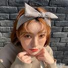 MD韓-格紋蝴蝶結髮箍-杏【08190062】