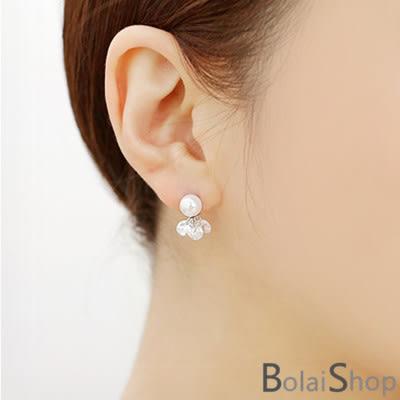 (現貨販售)無耳洞耳環一對 新款韓系典雅時尚珍珠鋯石耳夾 ES0090系列【寶來小舖 BOLAI SHOP 】