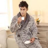 男士睡衣秋季冬天 男女情侶加厚法蘭絨睡袍 珊瑚絨睡袍家居服睡衣浴袍免運直出 交換禮物