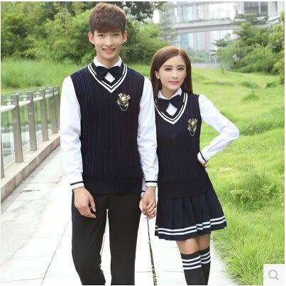 秋裝男女中學生日韓英倫學院風校服班服高中棉馬甲制服工作服