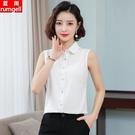 無袖襯衫女雪紡2021夏季新款內搭背心上衣職業氣質露肩顯瘦白襯衣
